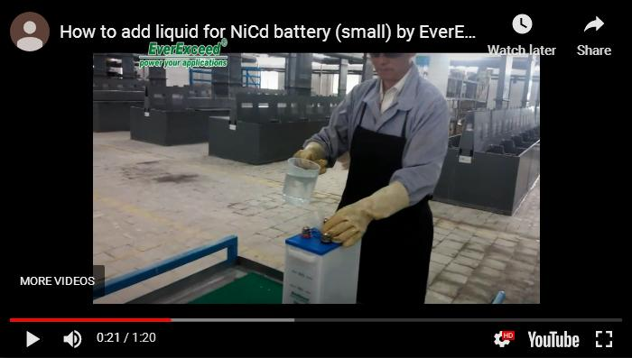 How to add liquid for NiCd battery (small) by EverExceed